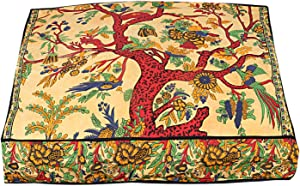 Indian Tree of Life Mandala Cotton Throw Cushion Cover Hippie Square Pillows Boho Cushion Sham Boho Bedroom Floor Pillows Pouffe Cover Decor
