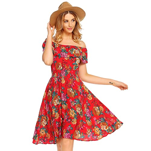 81a4ffa0654a Burlady Womens Summer Casual Off Shoulder Ruffled A Line Swing Floral Skater  Dress