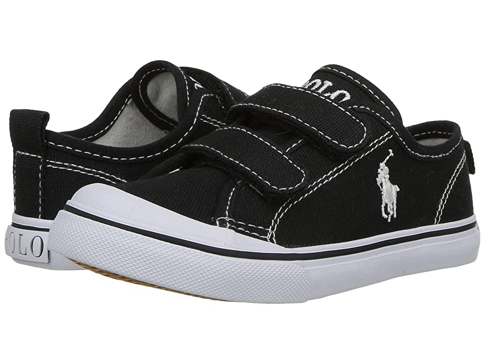 Polo Ralph Lauren Kids Karlen EZ (Toddler) (Black Canvas/White Pony Player) Kid
