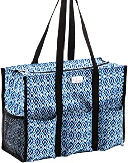 Pursetti Zip-Top Organizing Utility Tote Bag with Multiple Exterior & Interior Pockets for Working Women, Nurses, Teachers and Soccer Moms (Blue Diamond)