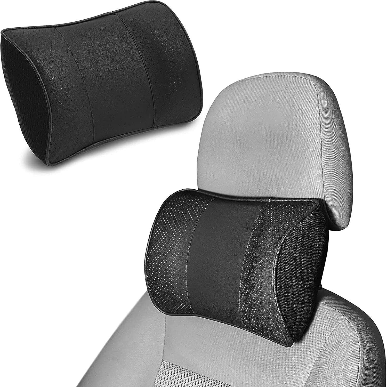 Juvale Car Headrest Pillow Memory Faux Max 78% OFF Leather Foam Black Super Special SALE held 11