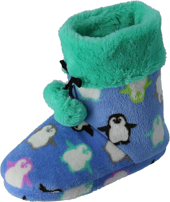PJ Couture Woherrar Penguin Penguin Penguin Print Booslips Slipper med Faux Fur and Poms  online shopping sport