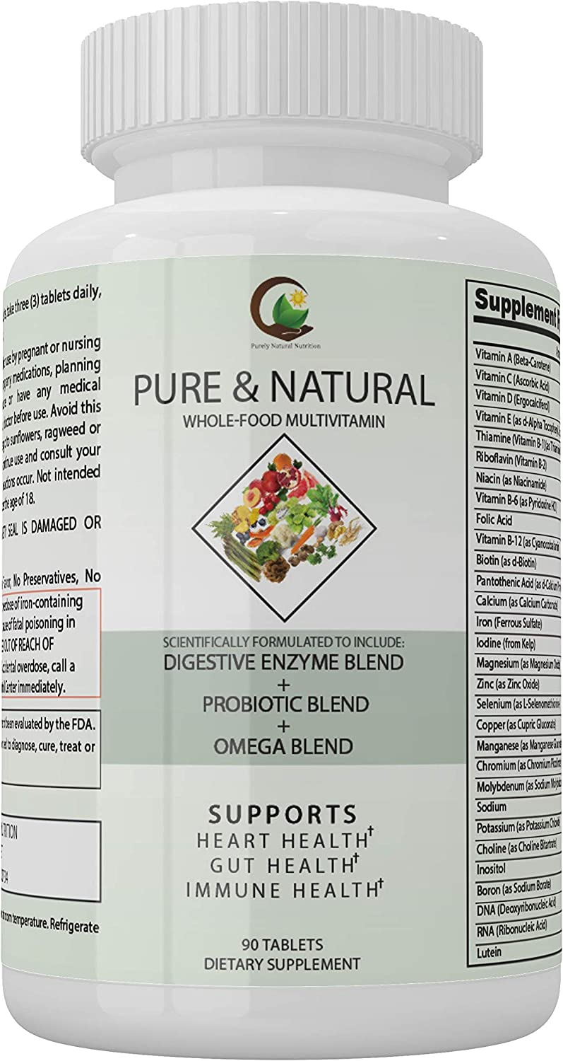 Pure Natural Whole Food Blend Omega Probiotics Inexpensive Multivitamins- Price reduction
