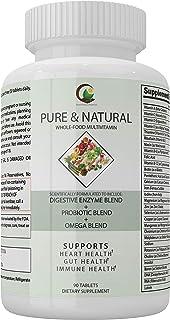 Pure & Natural Whole Food Multivitamins- Probiotics, Omega Blend, Digestive Enzyme Blend, Immune Support, All-Natural