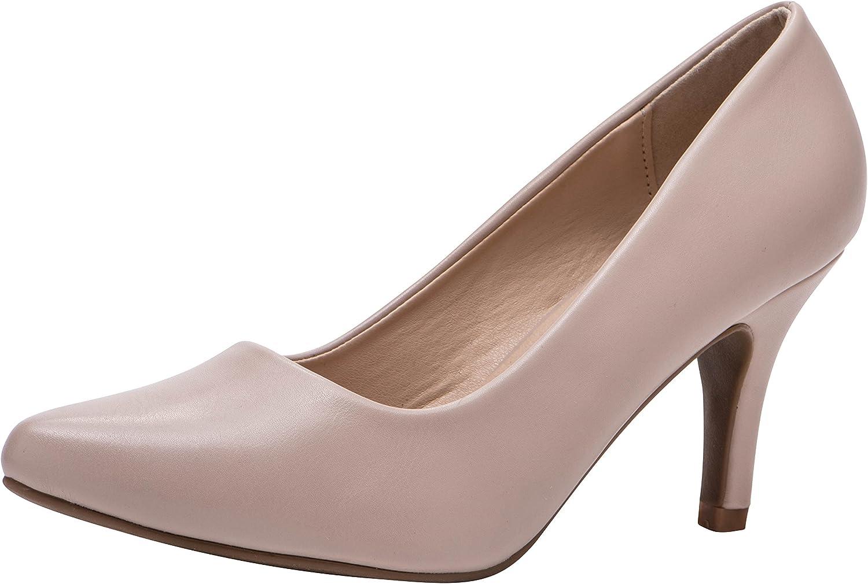 Cambridge Select Women's Classic Pointed Toe Slip-On Mid Heel Pump