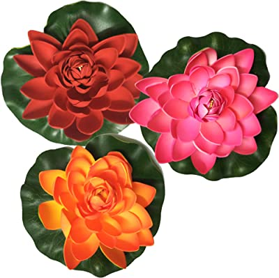 Floating Artificial Multicolor Lotus Flower Set of 3-10cm x 10cm x 10cm (LxBxH), Floating Lotus Flower, Floating Lotus Decoration Flower, Floating Flowers for Decoration