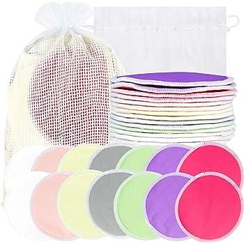 Bamboo Nursing Pads (14 Pack)+Laundry Bag & Travel Storage Bag, 2 Sizes: 3.9/4.7inch Option - Washable & Reusable Nursing Pads (Passion, Large, Daytime Use)
