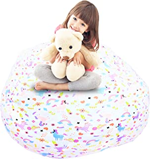 """Pralians Stuffed Animal Storage Bean Bag Chair Cover Large 48"""" Toy Organizer Pink for Kids and Adults Room Holds 90 Toys t..."""