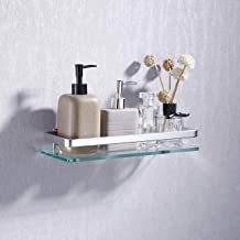 KES Aluminum Bathroom Glass Shelf Tempered Glass Rectangular 1 Tier Extra Thick Silver Sand Sprayed Wall Mounted, A4126A