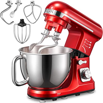 Stand Mixer, Aicok 5.5 Qt Double Dough Hooks Stand Mixer, with Whisk, Beater, Stainless Steel Bowl, 6 Speeds Tilt-Head Food Mixer, Kitchen Electric Mixer with Pouring Shield, Red