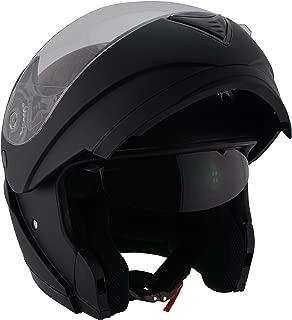 Milwaukee Performance DOT Approved Modular Full Face Racing Helmet w/ Sun Visor (Matte Black, X-Small)