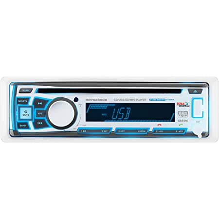 BOSS Audio Systems MR762BRGB Marine Stereo - Single Din, Bluetooth Audio, CD USB SD MP3, Aux in, AM FM Radio, Weatherproof, Detachable Front Panel, Multi-Color Illumination, Wireless Remote, White