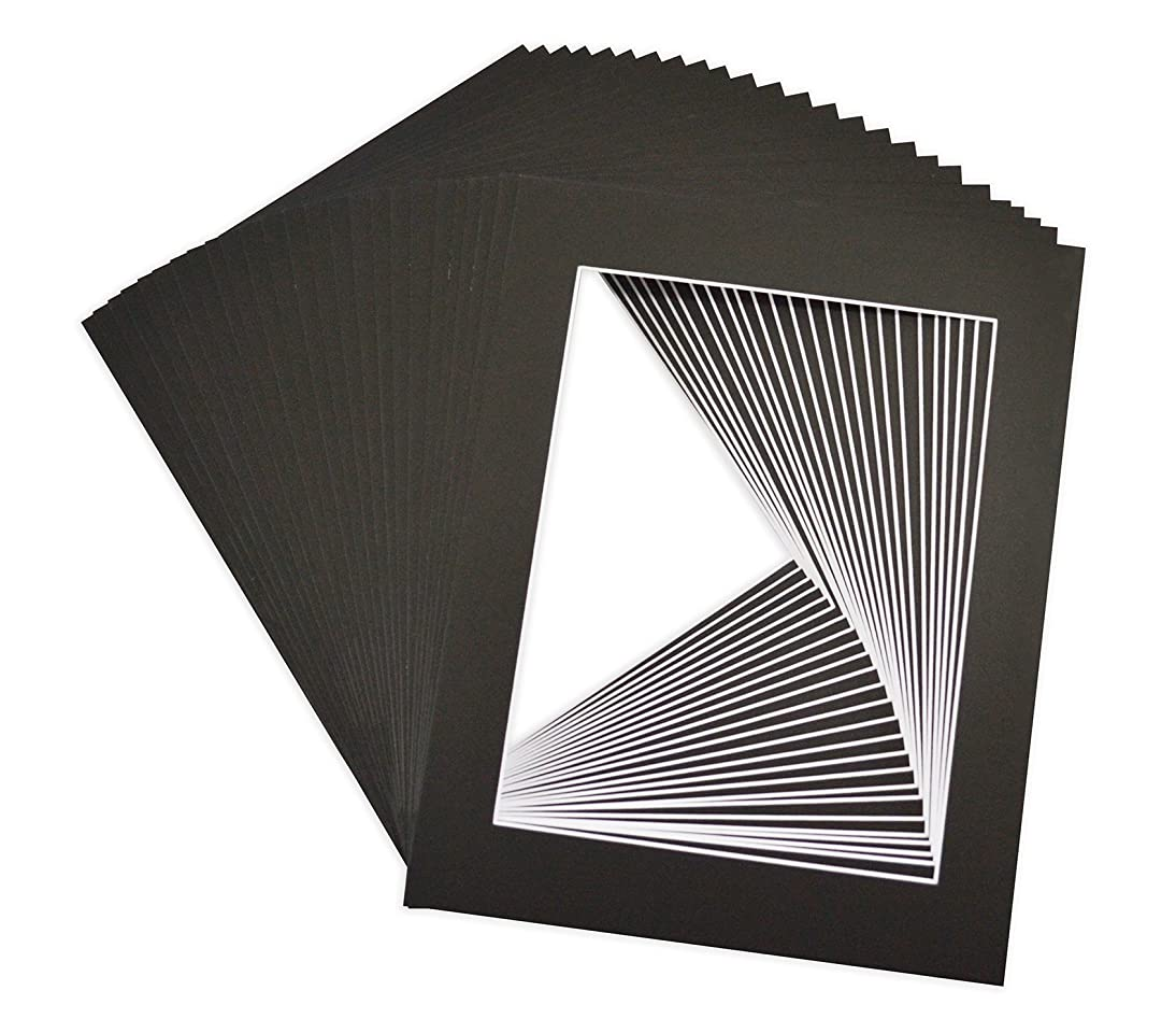 Golden State Art, Acid Free, Pack of 25 Black Pre-Cut 11x14 Picture Mat, for 8.5x11 Photo/Document, with White Core Bevel Cut Mattes