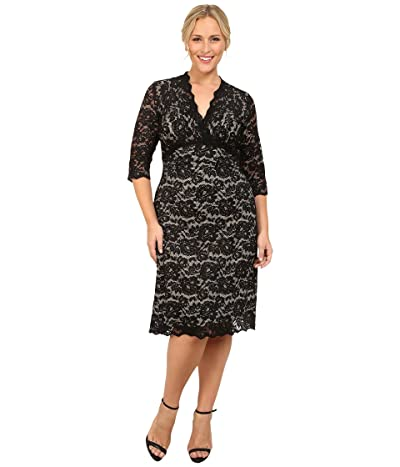 Kiyonna Scalloped Boudoir Lace Dress (Black/Nude) Women