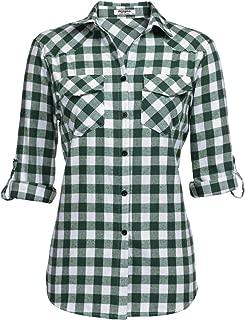 Womens Flannel Shirt Tartan Gingham Checkered Long Sleeve Button Down Plaid Shirt