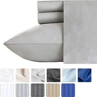California Design Den High Thread Count Queen Sheets - Light Grey 100% Long Staple Cotton 4 Piece Bedding Set, 500 TC Luxury Finish Solid Sateen Weave Bedding