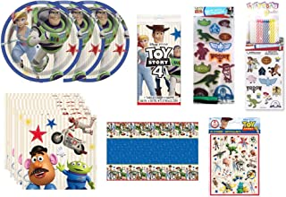 Toy Story Birthday Party Supplies Decoration Bundle for 16 includes Dessert Cake Plates, Napkins, Table Cover, Favor Cello...