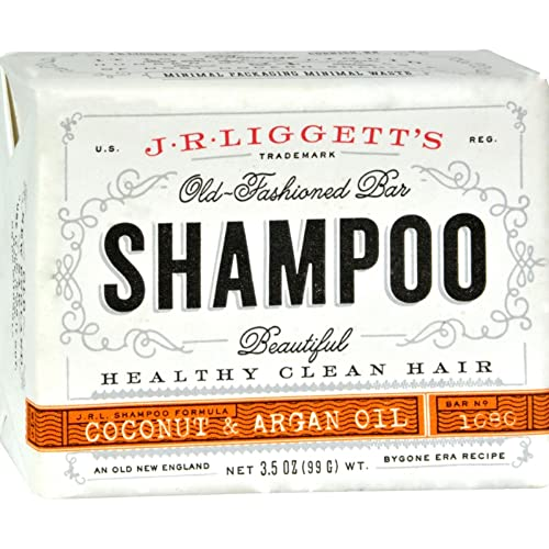J.R.LIGGETT'S All-Natural Shampoo Bar, Virgin Coconut and Argan Oil - Support Strong and Healthy Hair - Nourish Follicles with Antioxidants and Vitamins-Detergent and Sulfate-Free, One 3.5 Ounce