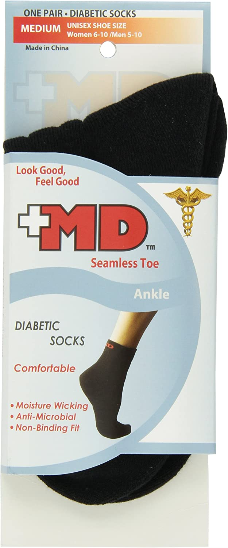 MD USA Bargain sale Wave-In Mesh Diabetic Rapid rise Socks Medium Seamless Ankle Black