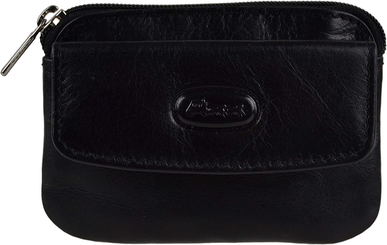 Hansson Men's Small Top Leather Coin Purse Pouch/Wallet By Key Ring