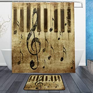 Naanle Abstract Retro Music Note Poster with Piano Keyboard