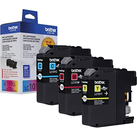 Brother Genuine Standard Yield Color Ink Cartridges, LC1013PKS, Replacement Color Ink Three Pack, Includes 1 Cartridge Each of Cyan, Magenta & Yellow, Page Yield Up to 300 Pages/Cartridge, LC101