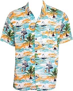 Corona Light Where's The Beach Men's Aloha Tropical Button Up Shirt XX-Large Blue