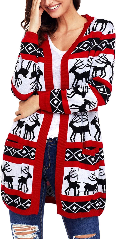 Sidefeel Women Christmas Reindeer Geometric Open Front Long Sleeve Cardigan