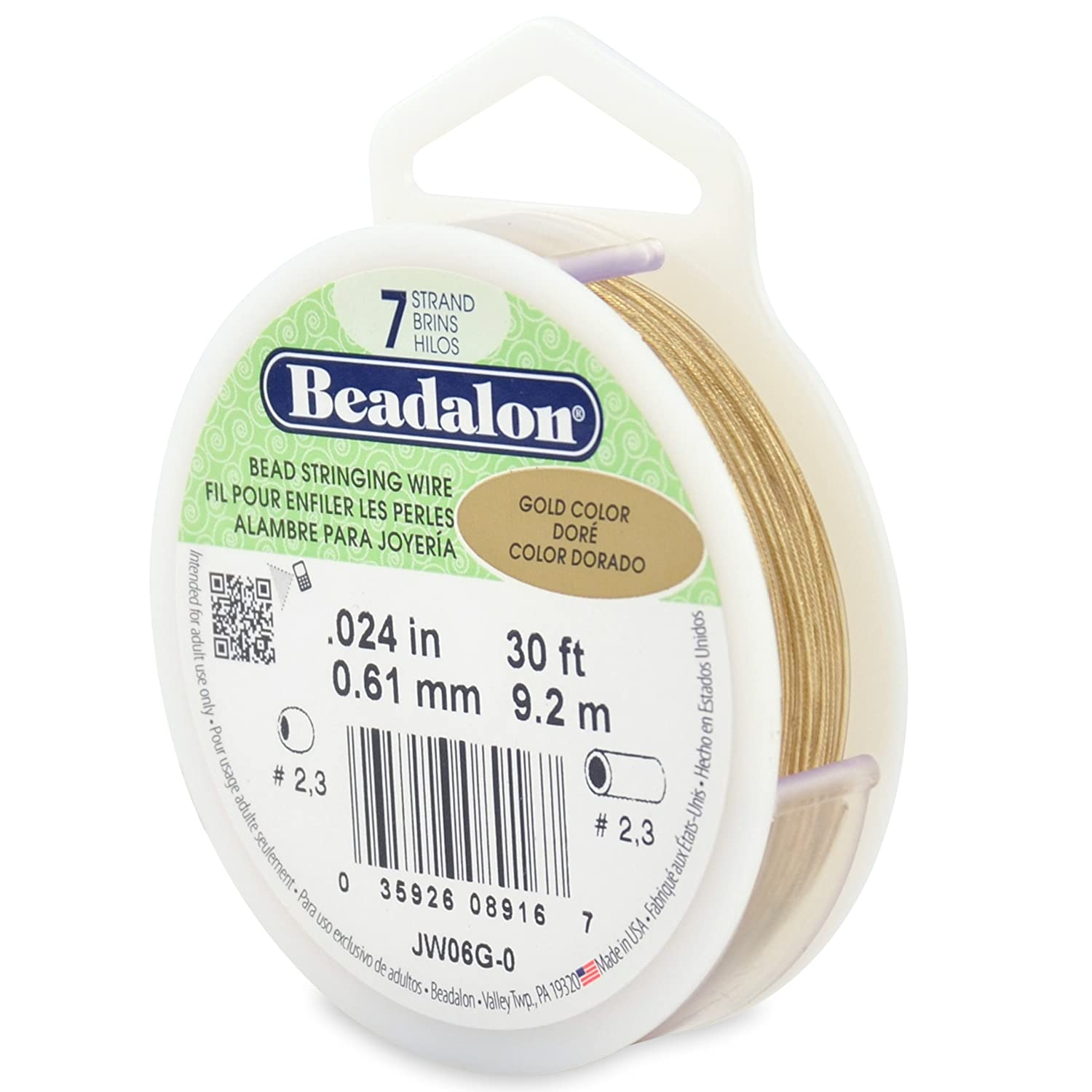 Beadalon 7-Strand Stainless Steel 0.024-Inch Bead Stringing Wire, 30-Feet, Gold Color