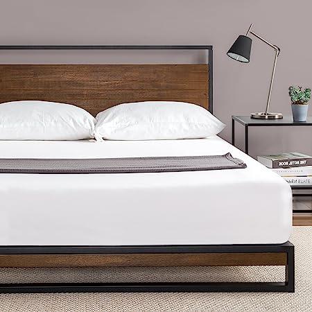 ZINUS メタル ウッド ベッドフレーム セミダブル Suzanne Metal and Wood Platform ブラウン メタル 木製 すのこ 静音 耐久性 通気性 パイン材 スチール   ベッド 組み立て簡単 工具付き ジヌス   日本正規品 IRPBH