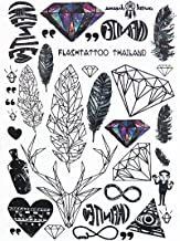 Geometrische Flash Tattoos LC871 Feder, Diamant, Hirsch