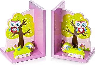 Cute Pink Owl Kids Bookends Girls