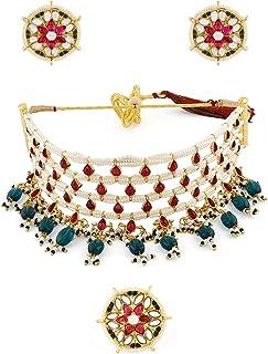 Zaveri Pearls Pink Kundan & Green Beads Choker Necklace Earring & Ring Set For Women-ZPFK11071