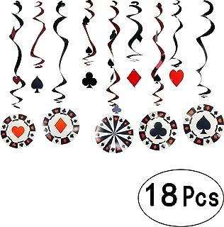 Game Night Casino Party Foil Hanging Swirls Decorations Viva Las Vegas Ceiling Hangings Garlands Cards Bingo Poker Card Casino Night Party Whirls Hanging Decorations, 18Ct