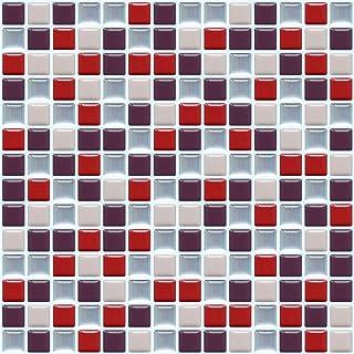 APSOONSELL 【4枚】 モザイクタイルシール 防水 キッチン 浴室 壁 タイルシート 白 黒 壁紙シート 凹凸 25.4X25.4cm WJZD-102