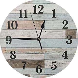 XinsFaith Brown and Blue Rusitic Wood-Vintage Wall Clock-Frameless Wall Clock-Decorative Wall Clock-9.5 Inch Battery Opera...
