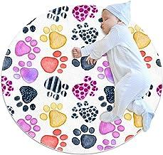 Djurfotavtryck, barn rund matta polyester överkast matta mjuk pedagogisk tvättbar matta barnkammare tipi tält lekmatta