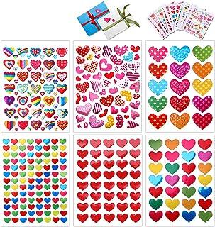 HOWAF 60 Feuilles Saint Valentin Decoration gommette Brillante Coeur Autocollants Stickers pour Enfants Fille et Garçon Ar...
