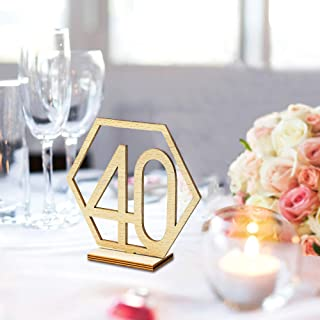 Table Numbers 21-40 for Wedding or Restaurants with Base 20Pack, Wooden Seat Number Table Desk Names Holders Cards Stands for Birthday Party Hotel Business Reception Wedding Decoration (21-40 Numbers)