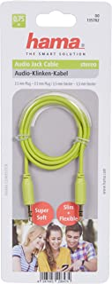 Hama 135782 3,5Mm - 3,5Mm Flexi Slim Altın Uç 0,75M Ses Kablosu, Yeşil