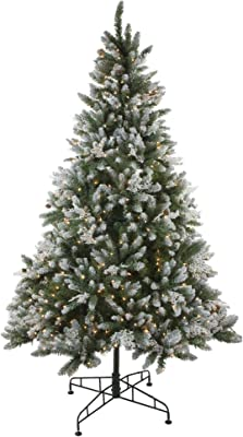 Amazon.com: ABUSA Prelit Frosted Artificial Christmas Tree 7.5 ft ...