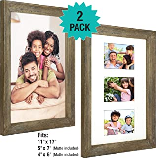 Rustic Barnwood 11x17 Picture Frame Set. Photo Frames Holder for Wall Desktop or Tabletop Display. Thick Weathered Gray Wood Home Decor. Fits 11x17 or three 5x7 or 4x6 with included Matte (Pack of 2)