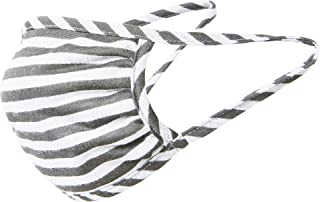 Tart Collections Fabric Face Mask, Comfortable Non-Elastic Ear Loops, Washable and Reusable, Unisex, Made in USA, Athletic Grey/White Stripe