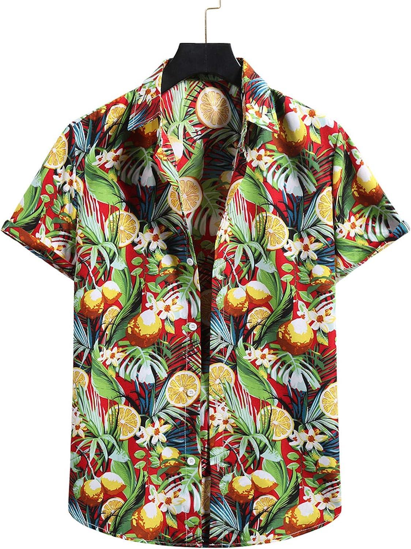 Appoi Funky Hawaiian Shirt Men Short Sleeve Button Down Shirt Relaxed-fit Summer Beach Shirts Hawaiian-Print Leaves Lemon
