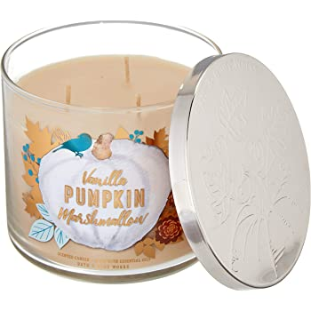 Bath and Body Works 3 Wick Scented Candle Vanilla Pumpkin Marshmallow 14.5 Ounce