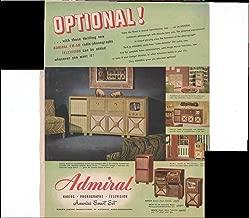 Admiral Radios Phonographs Television America's Smart Set Home Entertainment 1948 Original Vintage Advertisement