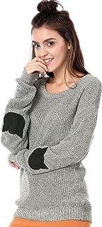 Allegra K Women`s Pullover Drop Shoulder Elbow Cat Patch Loose Sweater Pullover Jumper