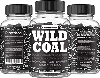 Wild Activated Charcoal Capsules from 100% Organic Coconut Shells - Digestion & Gas Relief, Ease Hangovers and Eating Out - Lab Tested, USA Made, Non-GMO, Premium Purity (100 Capsules)