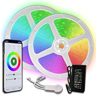 [Upgraded 2020] WiFi LED Strip Lights 32.8ft by TBI Waterproof Smart Works with Alexa, Google Home Super-Bright 5050 LED, Flexible RGB 16M Colors App-Controlled Music Remote 4 Kitchen, TV, Party Room