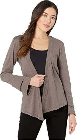 Flounce Sleeve Cardigan with Back Twist in Slub Jersey